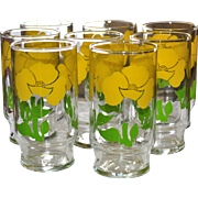 Set of 8 Sunny Yellow Flower Drinking Glass Tumblers