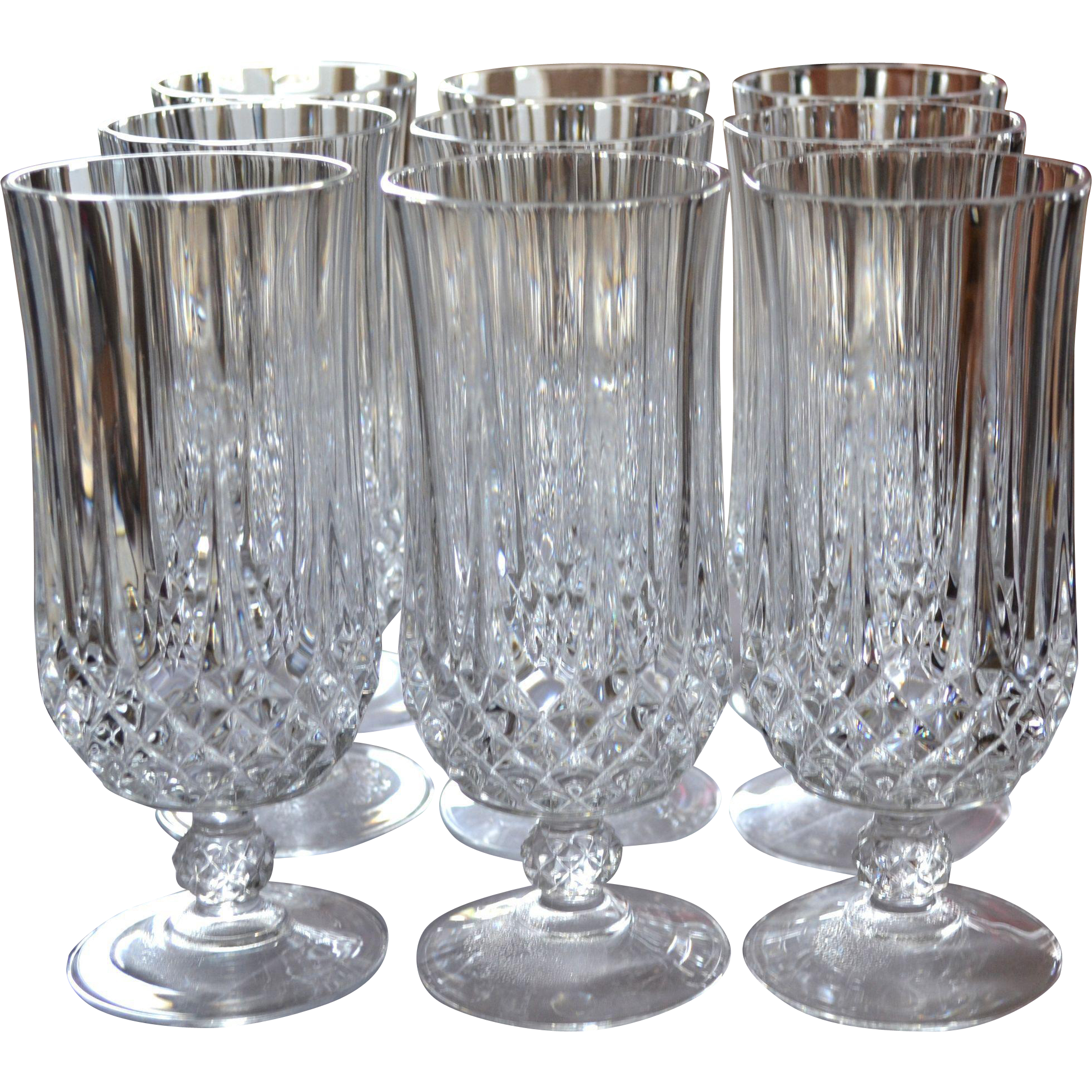 cristal d 39 arques longchamp set of 9 lead crystal iced tea glasses from kitschandcouture on ruby. Black Bedroom Furniture Sets. Home Design Ideas