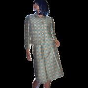 1950s French Room Continental Textured Blue Plaid Blazer & Pencil Skirt Set