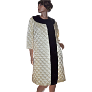 1960s Leisure Lovers California Quilted Beige & Brown Faux Fur Loungewear Robe