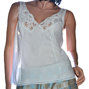 Wonder Maid White Lace Cotton Blend Camisole ~ Size 36