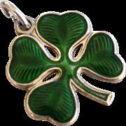 Wells Sterling Green Enamel 4 Leaf Clover 'Good Luck' Charm