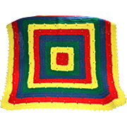 Primary Colors Red Yellow Blue Green Square Hand Crochet Blanket
