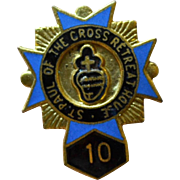 Blue Enamel 'St. Paul of the Cross Retreat House' Religious Tie Tack Pin