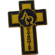 Alpha Omega Catechist Yellow & Black Religious Tie Tack Pin