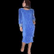 Karen Lawrence Pleated Royal Blue Sequin Sleeve Semi-Formal Dress