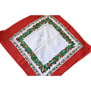 NOS Set of 6 Christmas Red Berry & Green Holly White Fabric Napkins