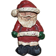 Signed Folk Art Santa Handcrafted Christmas Pin