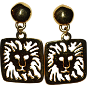Anne Klein Lion Hallmark Large Pierce-work Dangle Earrings