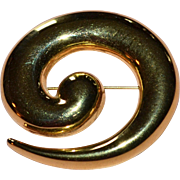 Large Monet Signed Swirled Abstract Brooch/Pin