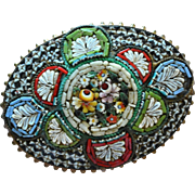 Large Colorful Italian Micro-Mosaic Oval Brooch/Pin