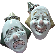 Handmade in Mexico Signed Set of Ceramic Clown Comedy & Tragedy Drama Wall Masks