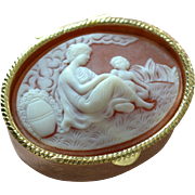 Greek Inspired Mother & Child Cameo Style Oval Hinged Pill Box or Small Trinket Box