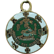 10K Gold Puerto Rico Coat of Arms Green/White Enamel Charm or Small Pendant