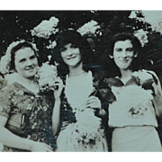 Dated 1931 Small Black & White Photo of 3 Deco Ladies