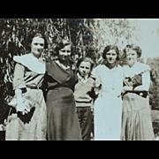 1930s Small Black & White Photo of Lovely Women Family
