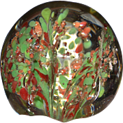 Orange-Pink & Green Trumpet Flower Confetti Art Glass Paperweight