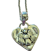 """Sterling Silver 'Guardian Angel…Protect Me"""" Heart Pendant Necklace"""