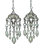 MONET Signed Faux White Pearl & Rhinestone Chandelier Earrings