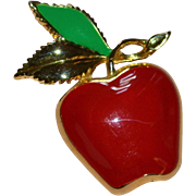 Signed MJENT Red Enamel Apple w/ Green Leaf Pin/Brooch