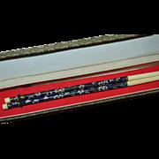 Chinese Cobalt Blue Cloisonne & Bone Chopsticks in Original Fabric Box