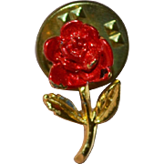 Painted Red Enamel Rose Tie Tack Pin