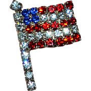 Sparkly Red, White, Blue Rhinestone American Flag Tie Tack Pin