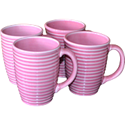 Set of 4 Fapor Portugal Ribbed Mauve Pink Large Ceramic Mugs