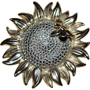 Liz Claiborne 'Honeybee on a Sunflower' Figural Goldtone Brooch/Pin