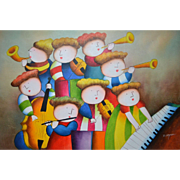 "J. Roybal Original 36"" Whimsical Child Musicians at Play Acrylic Impressionism Painting"