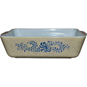 Pyrex Homestead Pattern 1.5 Quart Blue Flower Refrigerator Dish #503B