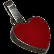 Sterling Silver Red Enamel Heart Pendant Charm