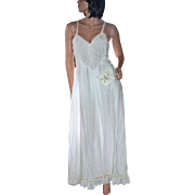 NWT Wild Mint Hand-stitched White Cotton Embroidery,Crochet & Lace Criss-Cross Maxi Nightgown