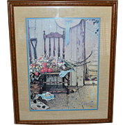 1969 Norman Rockwell 'SPRING FLOWERS' Framed Art Print