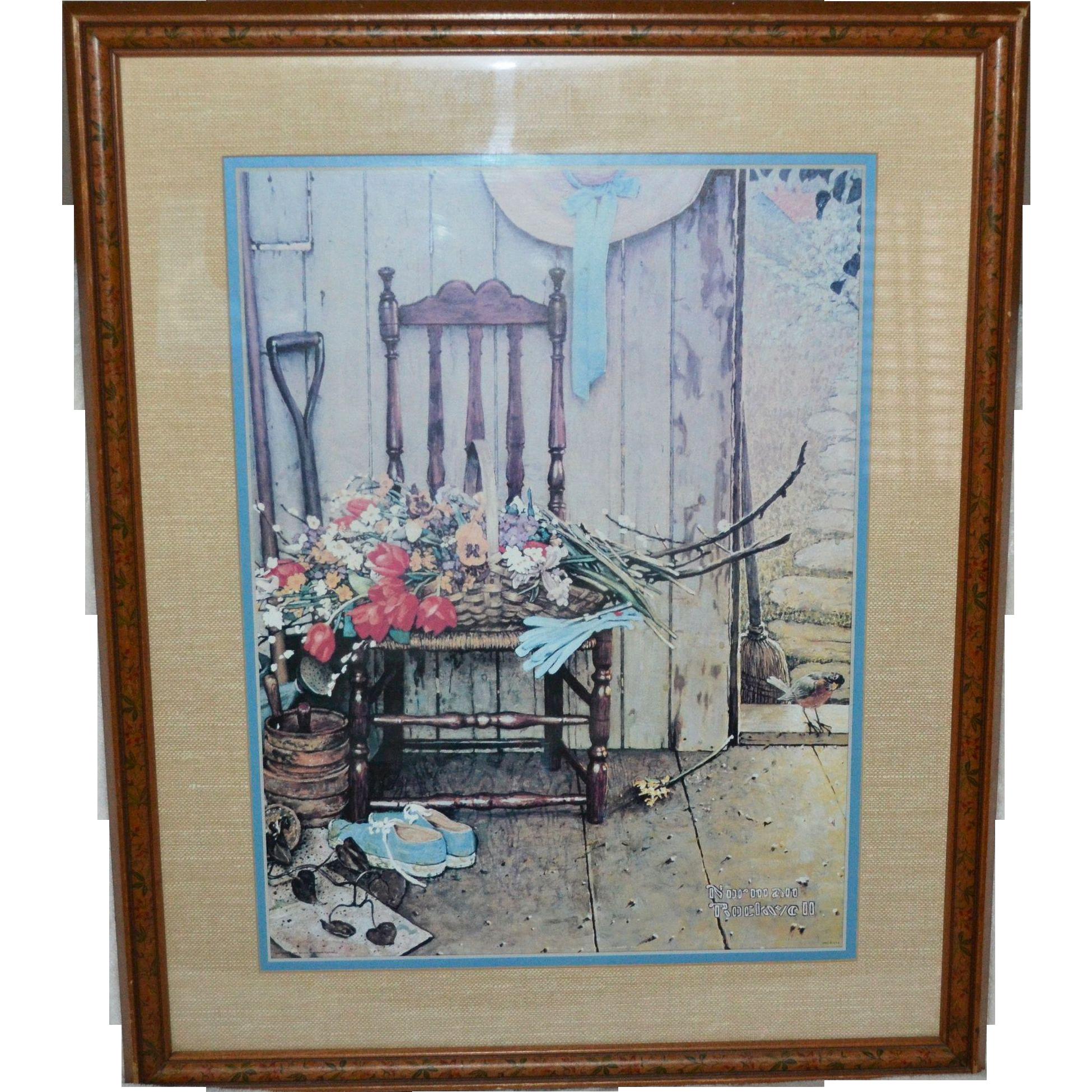 1969 Norman Rockwell Spring Flowers Framed Art Print