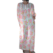 1970s Barbizon Pink & Gold Flower Ruffled Maxi Nightgown