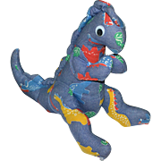 Large Googly-Eyed Denim Dinosaur Primitive Style Plush Toy