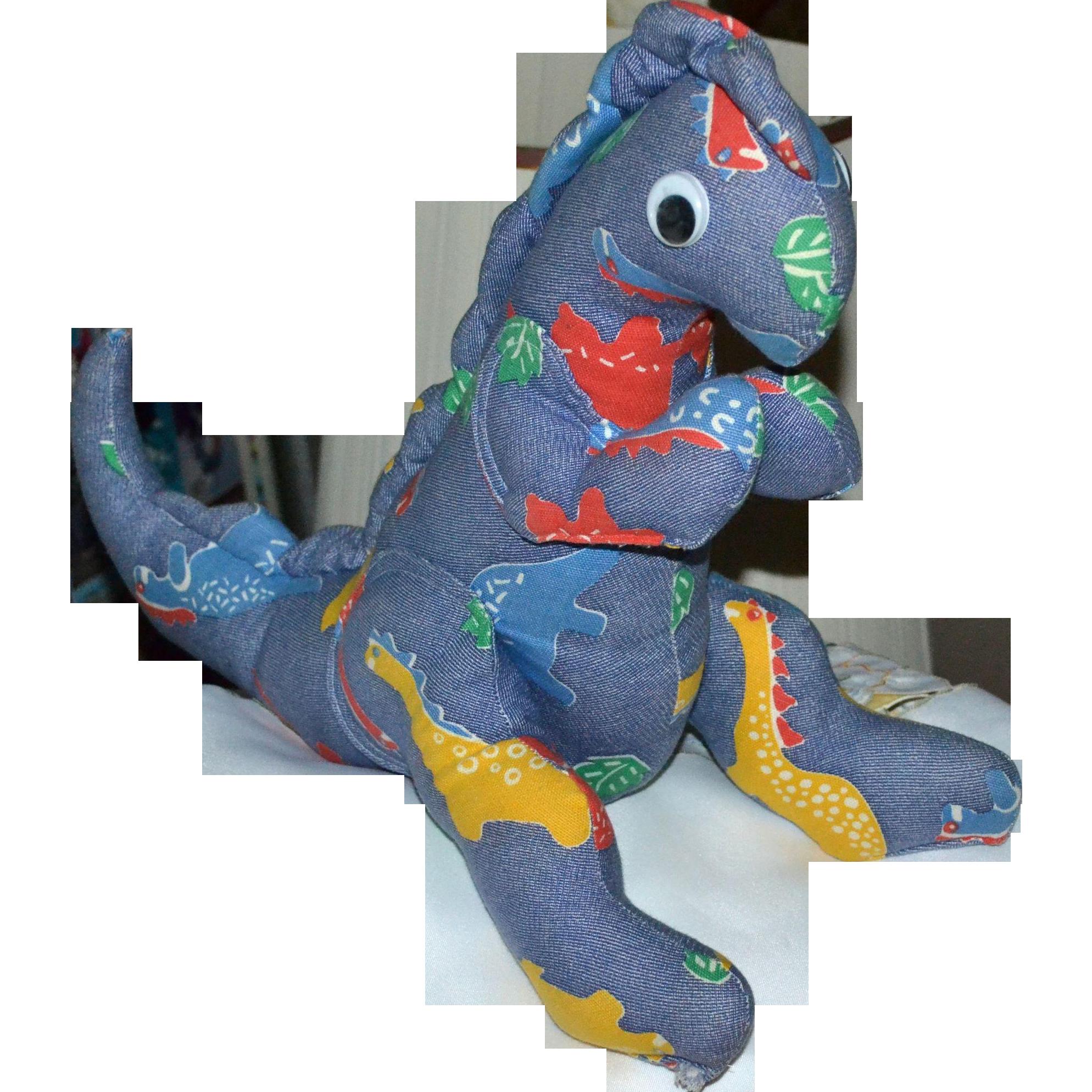 Large Googly-Eyed Denim Dinosaur Primitive Style Plush Toy