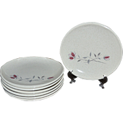 1950s Franciscan Duet Set of 7 Mod Shaped Bread & Butter Plates