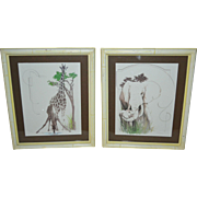 Set of 2 TARA Signed Mother/Baby Giraffe & Elephant Animal Lithograph Art Prints