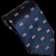 Patriotic American Flag Navy Blue SILK Men's Tie w/ Original Tag