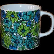 1968 Holt Howard Blue Mod Daisy Wildflower Large Ceramic Mug