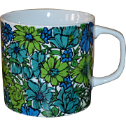 1968 Holt Howard Blue Mod Daisy Wildflower Large Ceramic Mug