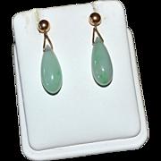 14K Gold Pale/Apple Green Jade Drop Pierced Dangle Earrings