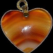 Large Banded Orange Agate Stone Heart Pendant