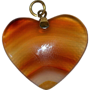 Large Banded Orange Agate Stone Heart Pendant