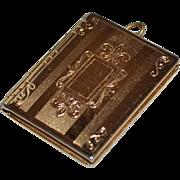 CORO Etched Goldtone Hinged Photo Locket Pendant