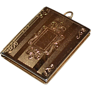CORO Etched Goldtone Hinged Photo Locket Pendant