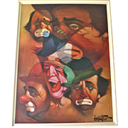 Chuck Oberstein Large Signed FIVE CLOWNS Framed Wall Art