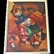 Chuck Oberstein Large Signed FIVE CLOWNS Framed Wall Art